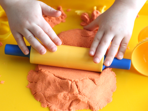 Cutting practice with play dough