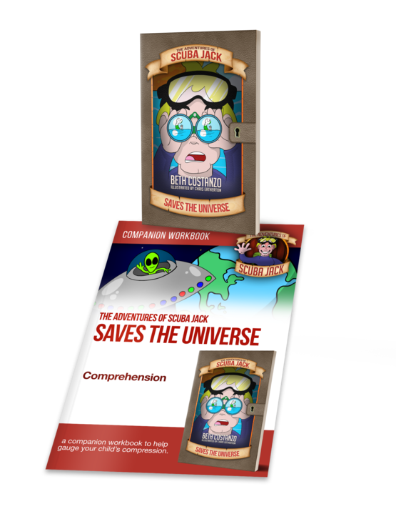 Scuba Jack Saves the Universe Chapter Book w/Activity Workbook Helps With Reading Comprehension